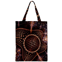 Brown Fractal Balls And Circles Zipper Classic Tote Bag