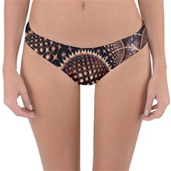 Brown Fractal Balls And Circles Reversible Hipster Bikini Bottoms by BangZart