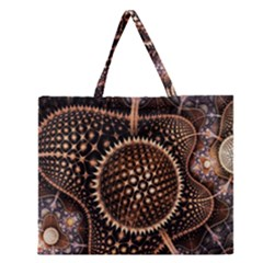 Brown Fractal Balls And Circles Zipper Large Tote Bag by BangZart