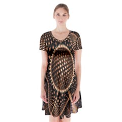 Brown Fractal Balls And Circles Short Sleeve V Neck Flare Dress