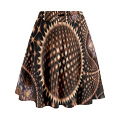 Brown Fractal Balls And Circles High Waist Skirt