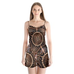 Brown Fractal Balls And Circles Satin Pajamas Set by BangZart