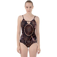 Brown Fractal Balls And Circles Cut Out Top Tankini Set