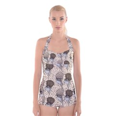 Bouffant Birds Boyleg Halter Swimsuit
