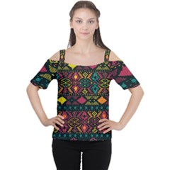 Bohemian Patterns Tribal Cutout Shoulder Tee