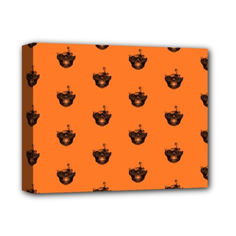 Funny Halloween   Burned Skull Pattern Deluxe Canvas 14  X 11  by MoreColorsinLife