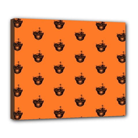 Funny Halloween   Burned Skull Pattern Deluxe Canvas 24  X 20   by MoreColorsinLife