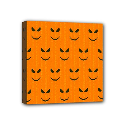 Funny Halloween   Face Pattern Mini Canvas 4  X 4  by MoreColorsinLife