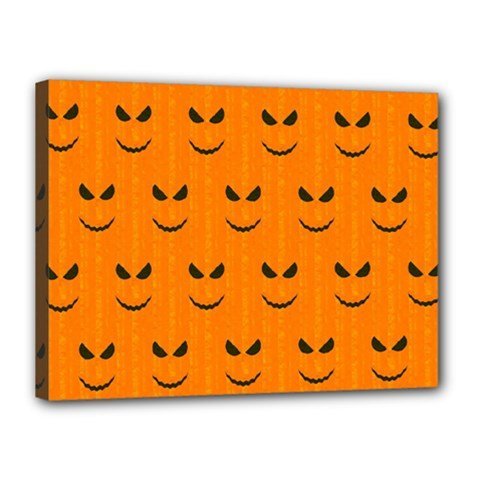 Funny Halloween   Face Pattern Canvas 16  X 12  by MoreColorsinLife