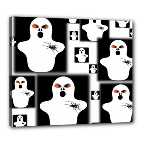 Funny Halloween   Ghost Pattern 2 Canvas 24  X 20  by MoreColorsinLife