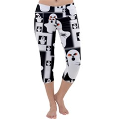 Funny Halloween   Ghost Pattern 2 Capri Yoga Leggings by MoreColorsinLife