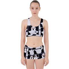 Funny Halloween   Ghost Pattern 2 Work It Out Sports Bra Set