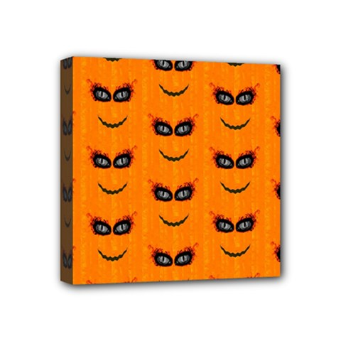 Funny Halloween   Face Pattern 2 Mini Canvas 4  X 4  by MoreColorsinLife