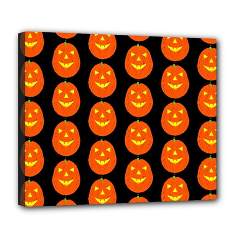 Funny Halloween   Pumpkin Pattern 2 Deluxe Canvas 24  X 20   by MoreColorsinLife