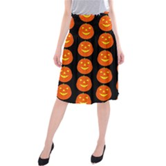 Funny Halloween   Pumpkin Pattern 2 Midi Beach Skirt by MoreColorsinLife