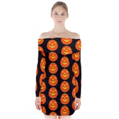 Funny Halloween   Pumpkin Pattern 2 Long Sleeve Off Shoulder Dress by MoreColorsinLife