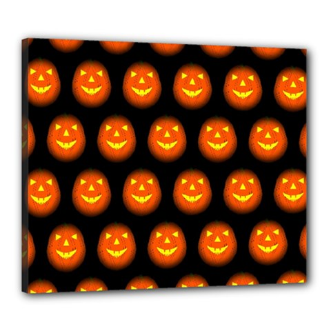 Funny Halloween   Pumpkin Pattern Canvas 24  X 20  by MoreColorsinLife