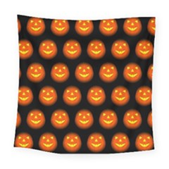 Funny Halloween   Pumpkin Pattern Square Tapestry (large) by MoreColorsinLife