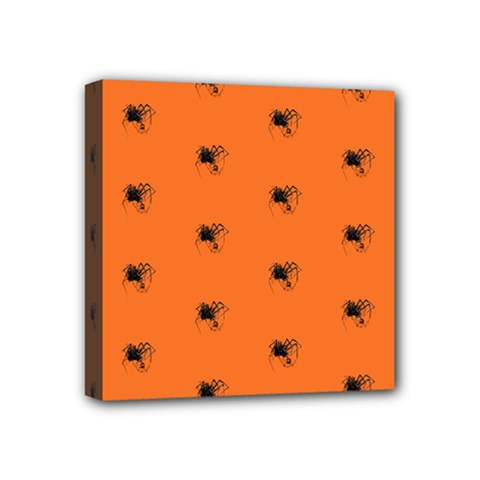 Funny Halloween   Spider Pattern Mini Canvas 4  X 4  by MoreColorsinLife