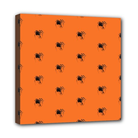 Funny Halloween   Spider Pattern Mini Canvas 8  x 8