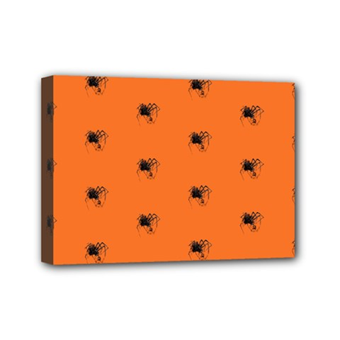 Funny Halloween   Spider Pattern Mini Canvas 7  x 5