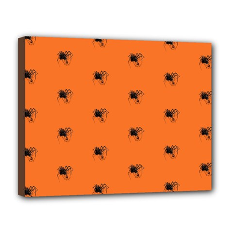 Funny Halloween   Spider Pattern Canvas 14  x 11