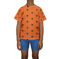 Funny Halloween   Spider Pattern Kids  Short Sleeve Swimwear by MoreColorsinLife