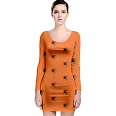 Funny Halloween   Spider Pattern Long Sleeve Bodycon Dress