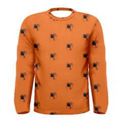Funny Halloween   Spider Pattern Men s Long Sleeve Tee