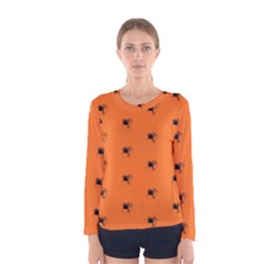 Funny Halloween   Spider Pattern Women s Long Sleeve Tee