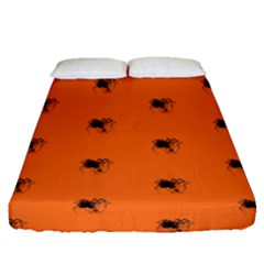 Funny Halloween   Spider Pattern Fitted Sheet (Queen Size)