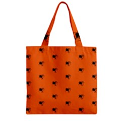 Funny Halloween   Spider Pattern Zipper Grocery Tote Bag