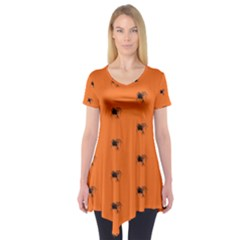 Funny Halloween   Spider Pattern Short Sleeve Tunic