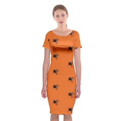 Funny Halloween   Spider Pattern Classic Short Sleeve Midi Dress