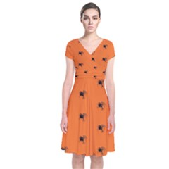 Funny Halloween   Spider Pattern Short Sleeve Front Wrap Dress