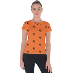 Funny Halloween   Spider Pattern Short Sleeve Sports Top