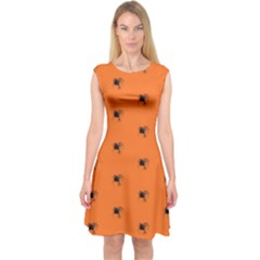 Funny Halloween   Spider Pattern Capsleeve Midi Dress