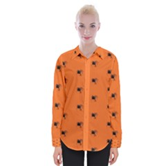Funny Halloween   Spider Pattern Womens Long Sleeve Shirt