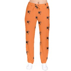 Funny Halloween   Spider Pattern Drawstring Pants