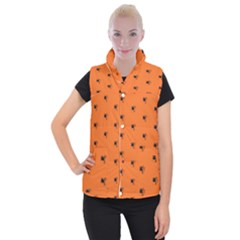 Funny Halloween   Spider Pattern Women s Button Up Puffer Vest