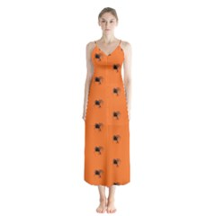 Funny Halloween   Spider Pattern Button Up Chiffon Maxi Dress
