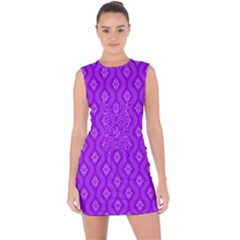 Decorative Seamless Pattern  Lace Up Front Bodycon Dress