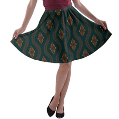 Ornamental Pattern Background A Line Skater Skirt