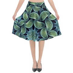 Blue Lotus Flared Midi Skirt