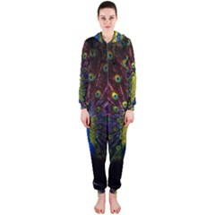Beautiful Peacock Feather Hooded Jumpsuit (ladies)  by BangZart