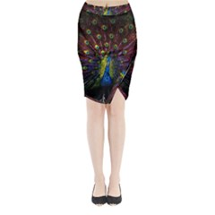 Beautiful Peacock Feather Midi Wrap Pencil Skirt by BangZart
