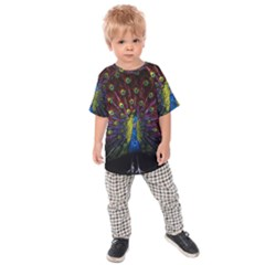 Beautiful Peacock Feather Kids Raglan Tee