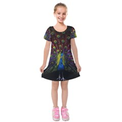 Beautiful Peacock Feather Kids  Short Sleeve Velvet Dress by BangZart