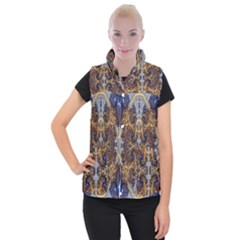 Baroque Fractal Pattern Women s Button Up Puffer Vest