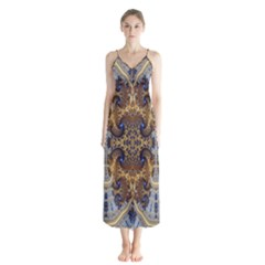 Baroque Fractal Pattern Button Up Chiffon Maxi Dress